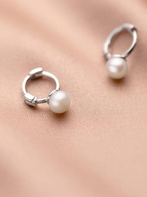 Rosh 925 Sterling Silver Imitation Pearl Round Minimalist Huggie Earring 4