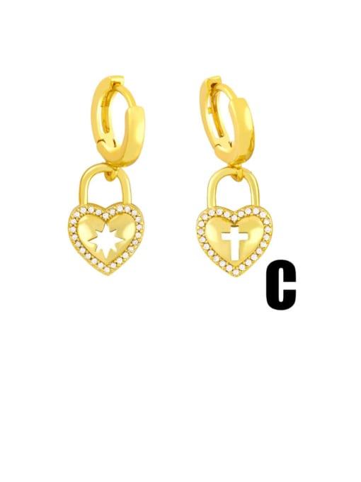 C Brass Cubic Zirconia Star Vintage Huggie Earring