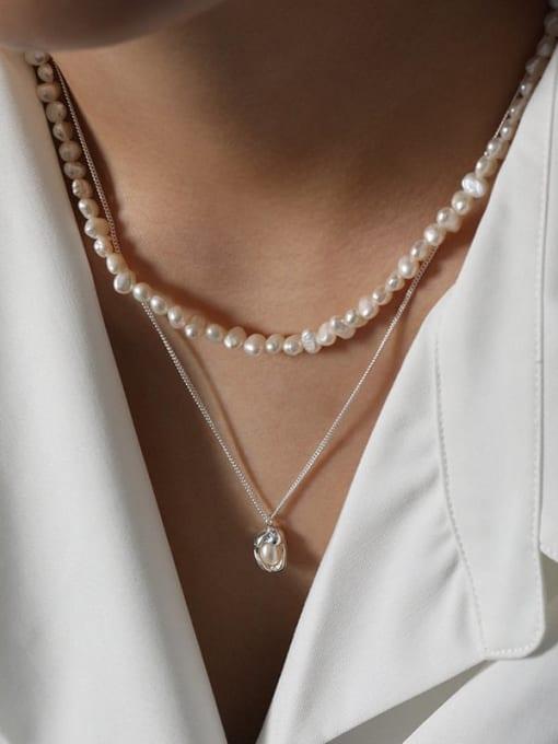 DAKA 925 Sterling Silver Imitation Pearl Irregular Vintage Necklace 2