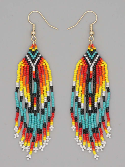 MG E200038A Stainless steel MGB Bead Multi Color Tassel Ethnic Hook Earring