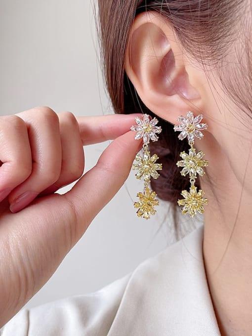 Luxu Brass Cubic Zirconia Flower Dainty Drop Earring 2