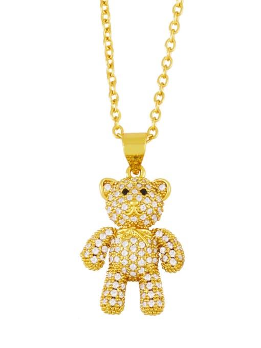 A Brass Rhinestone Cute Bear  Pendant  Necklace