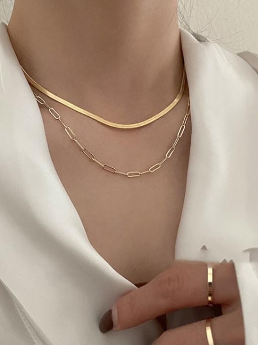 A TEEM Titanium Steel Irregular Minimalist Multi Strand Necklace 3