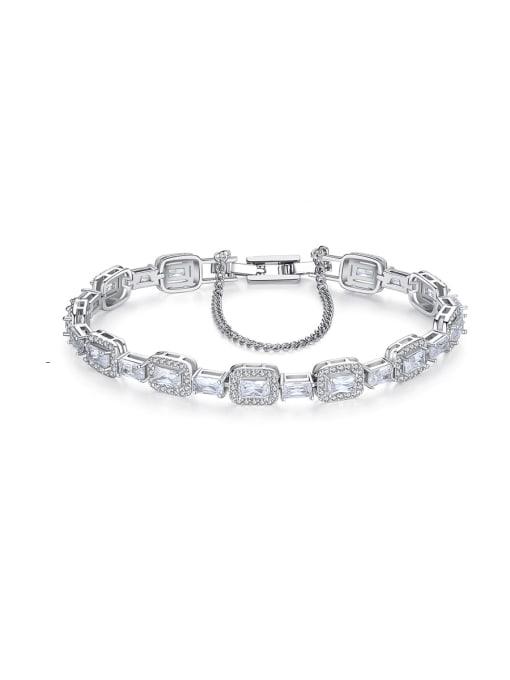 BLING SU Copper Cubic Zirconia Geometric Luxury Bracelet