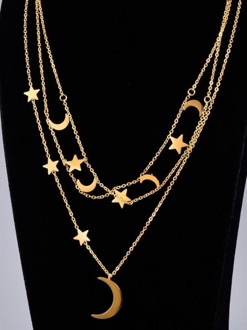 A TEEM Titanium Steel Star Vintage Multi Strand Necklace