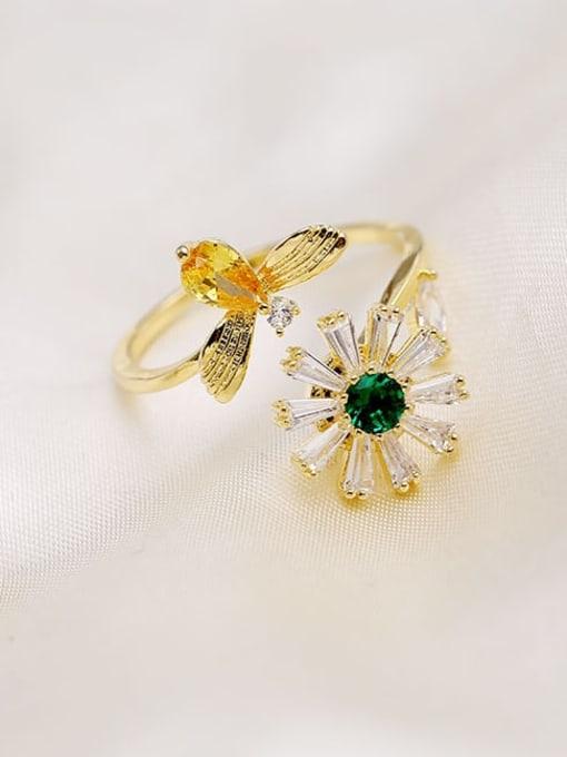 Luxu Brass Cubic Zirconia Flower Minimalist Band Ring 3