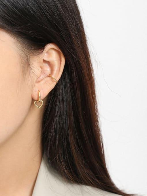 DAKA 925 Sterling Silver Smooth Heart Minimalist Huggie Earring 3