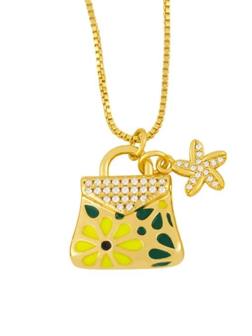 yellow Brass Rhinestone Enamel Geometric Minimalist Necklace