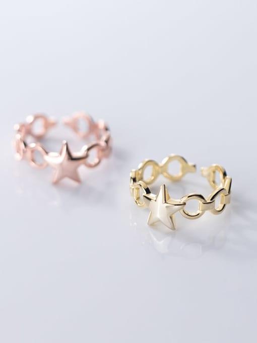 Rosh 925 Sterling Silver  Minimalist Fashion glossy pentagon  free size Ring 0