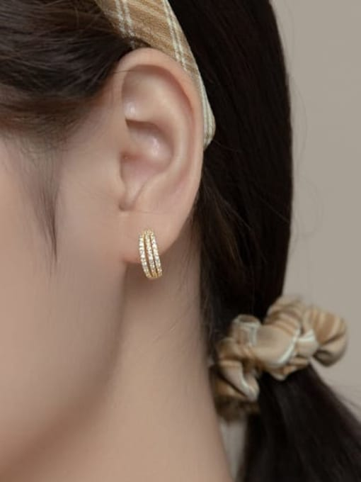 Rosh 925 Sterling Silver Cubic Zirconia Geometric Vintage Stud Earring 3