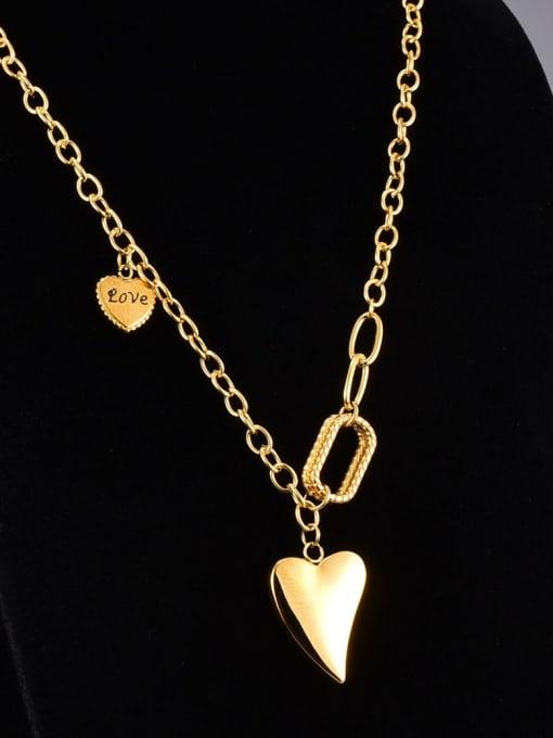A TEEM Titanium Steel Smooth Heart Vintage Necklace 3
