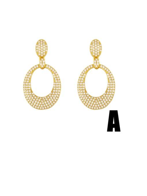 CC Brass Cubic Zirconia Geometric Minimalist Cluster Earring