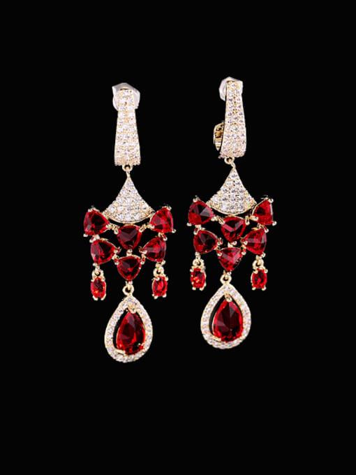 Red zirconium Brass Cubic Zirconia Geometric Vintage Drop Earring