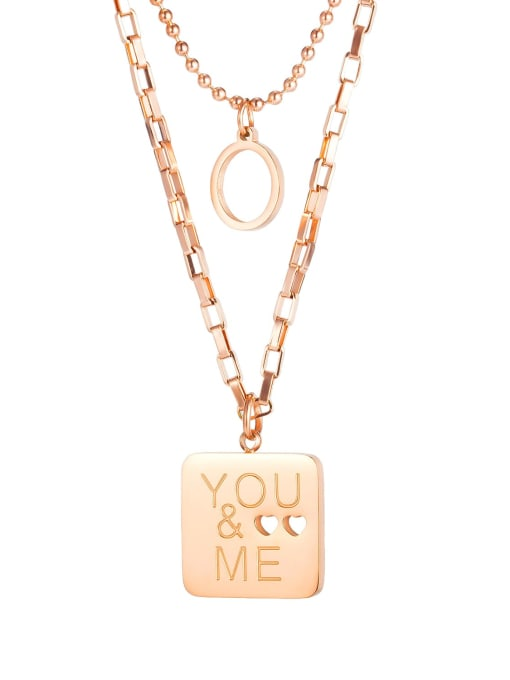 1864 Rose Gold Plated Steel Necklace Titanium Steel Message Minimalist Multi Strand Necklace