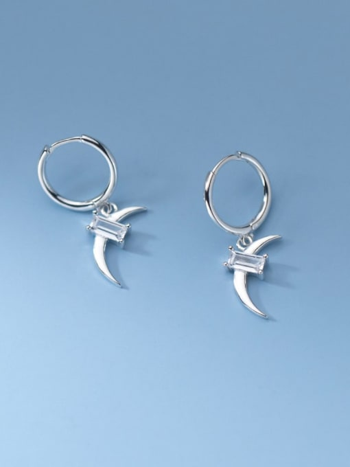 Rosh 925 Sterling Silver Cubic Zirconia Moon Minimalist Huggie Earring