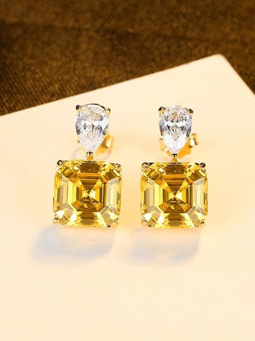 18K 18J08 925 Sterling Silver Cubic Zirconia Geometric Vintage Drop Earring