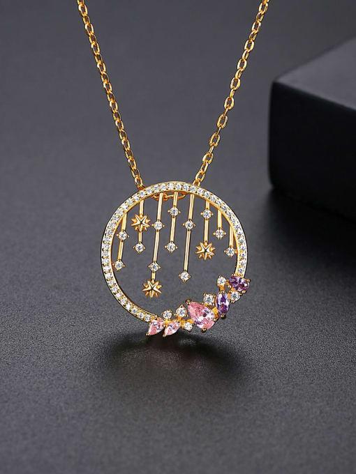 BLING SU Brass Cubic Zirconia Geometric Vintage Necklace 2