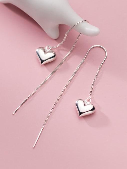 Rosh 925 Sterling Silver Heart Minimalist Threader Earring 0