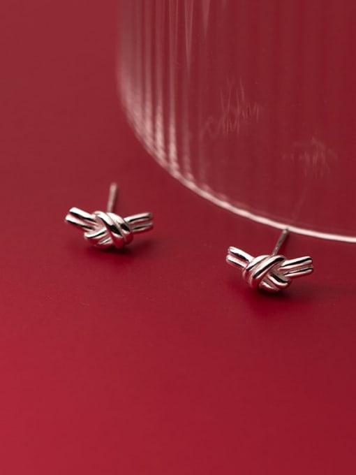 Rosh 925 Sterling Silver Bowknot Minimalist Stud Earring
