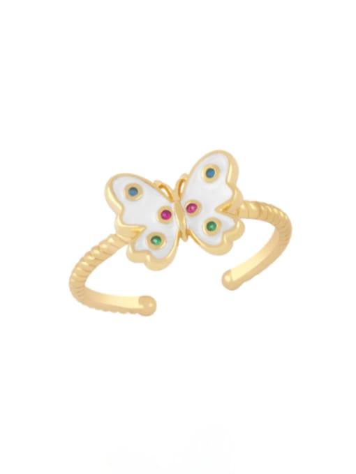 CC Brass Enamel Butterfly Minimalist Band Ring 3