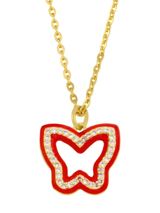red Brass Cubic Zirconia Hollow Butterfly Hip Hop Necklace