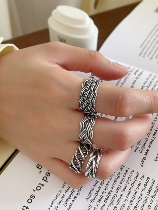 Boomer Cat 925 Sterling Silver Geometric Vintage Band Ring 2