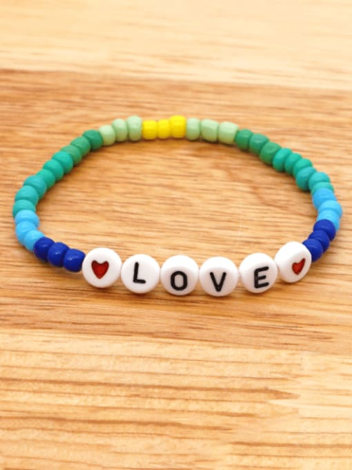 Roxi Stainless steel MGB  Bead Multi Color Letter Bohemia Stretch Bracelet