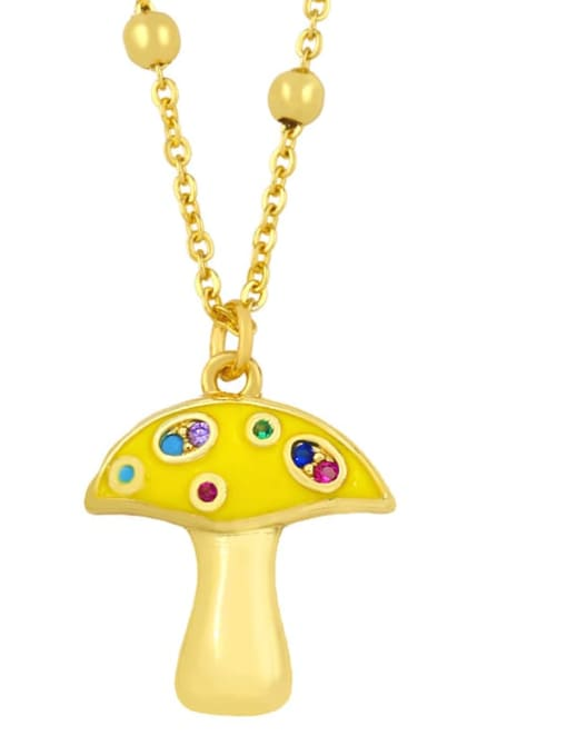yellow Brass Cubic Zirconia Enamel Mushroom Minimalist Necklace