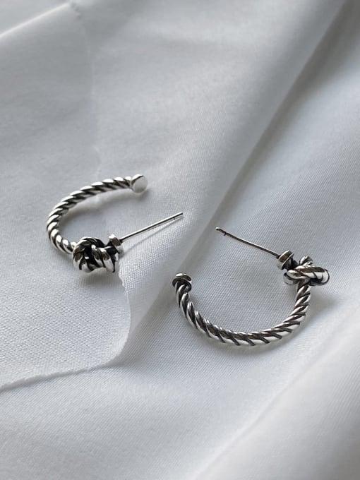 Boomer Cat 925 Sterling Silver Twist knot Vintage Stud Earring 2