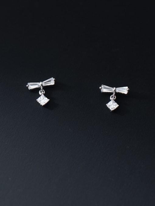Rosh 925 Sterling Silver Cubic Zirconia Bowknot Minimalist Stud Earring 2