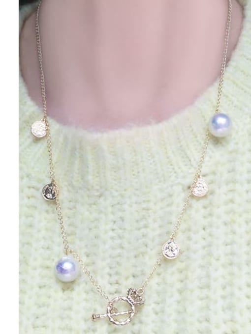 RAIN Brass Freshwater Pearl Coin Vintage Long Strand Necklace 1