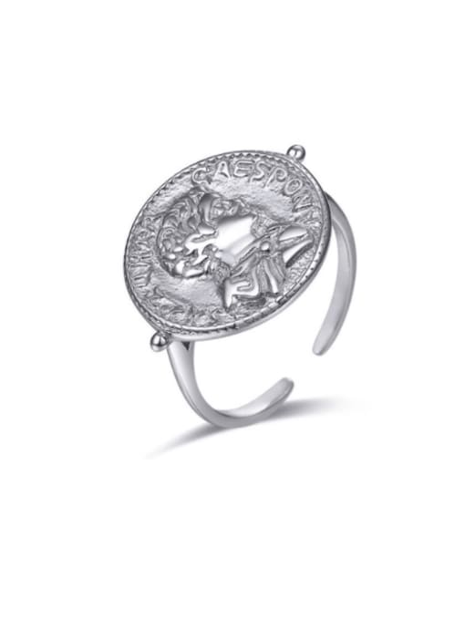 Boomer Cat 925 Sterling Silver Geometric coin Vintage Band Ring 0