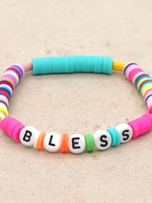 QT B200011Z Stainless steel Multi Color Polymer Clay Letter Bohemia Stretch Bracelet