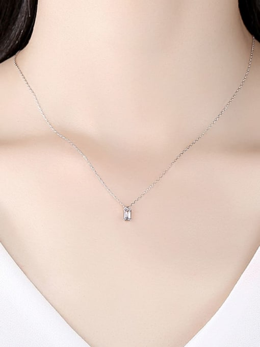CCUI 925 Sterling Silver Cubic Zirconia Geometric Minimalist  pendant Necklace 1