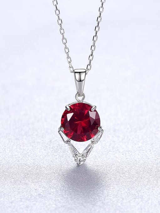 Red 20A04 925 Sterling Silver Cubic Zirconia Geometric Dainty Necklace