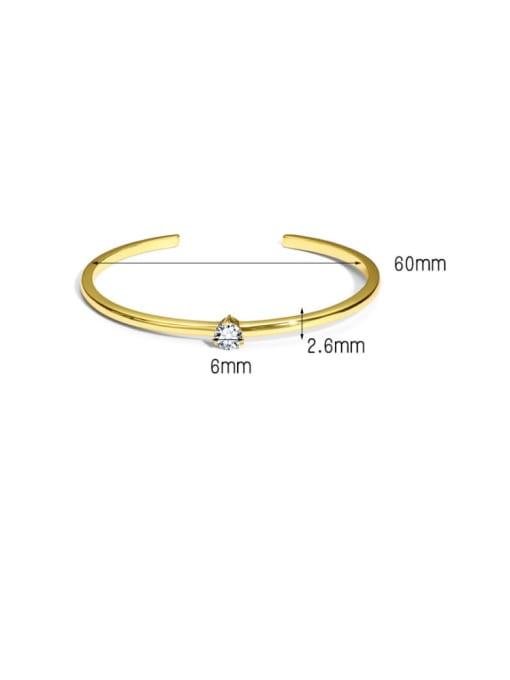 CHARME Brass Cubic Zirconia Geometric Minimalist Cuff Bangle 1