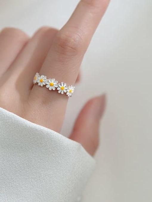 Rosh 925 Sterling Silver Flower Minimalist Band Ring 2