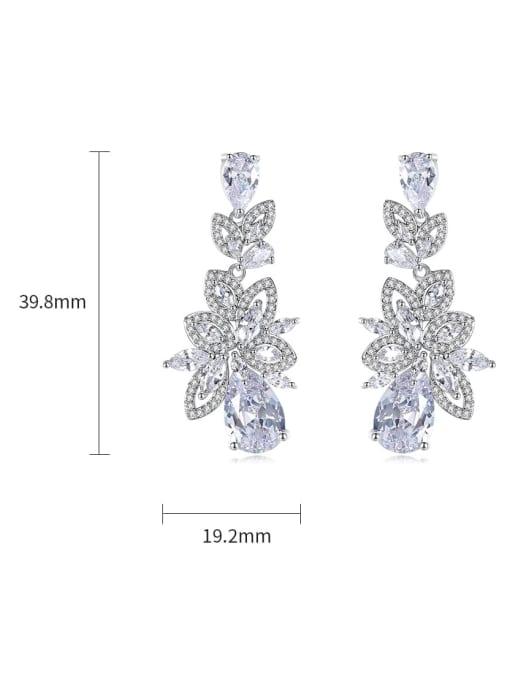 BLING SU Brass Cubic Zirconia Flower Statement Cluster Earring 3