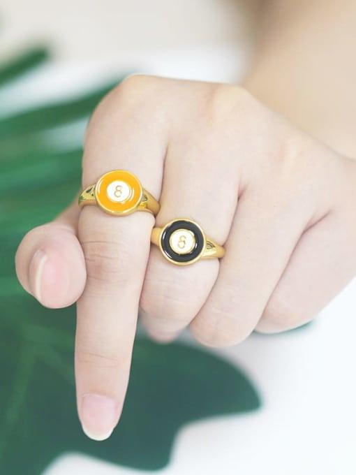 CC Brass Enamel Geometric Minimalist Band Ring 4