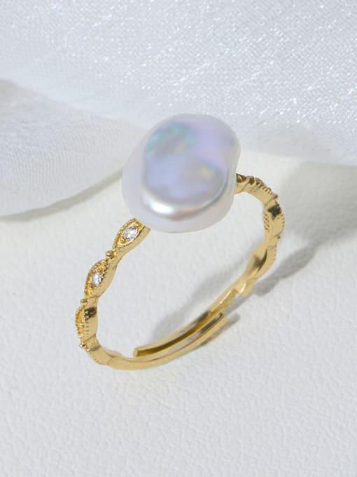 Diamond ring Brass Freshwater Pearl Irregular Minimalist Band Ring