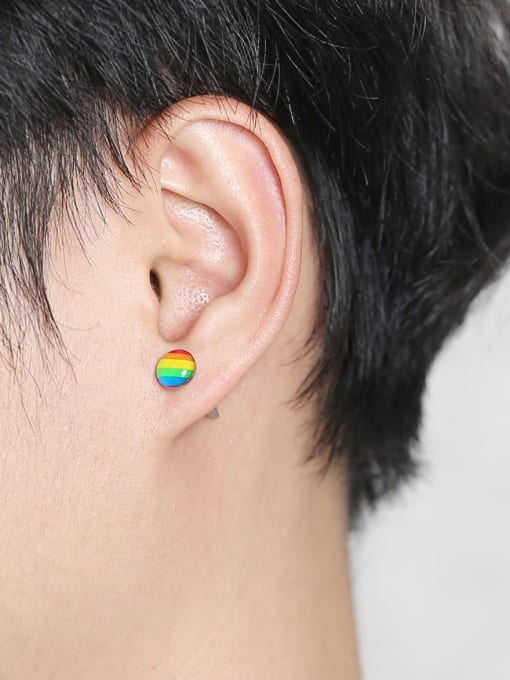 CONG Titanium Steel Multi Color Enamel Round Minimalist Stud Earring 1