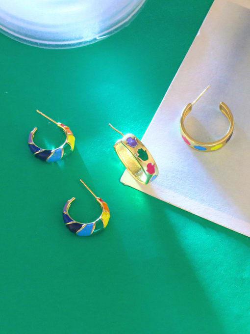 CC Brass Enamel Rainbow Hip Hop Stud Earring 2