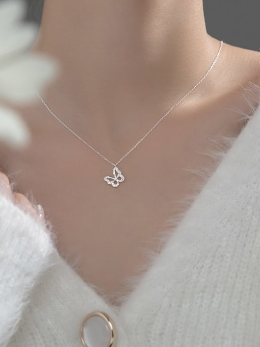 Rosh 925 Sterling Silver Cubic Zirconia Butterfly Minimalist Necklace 1