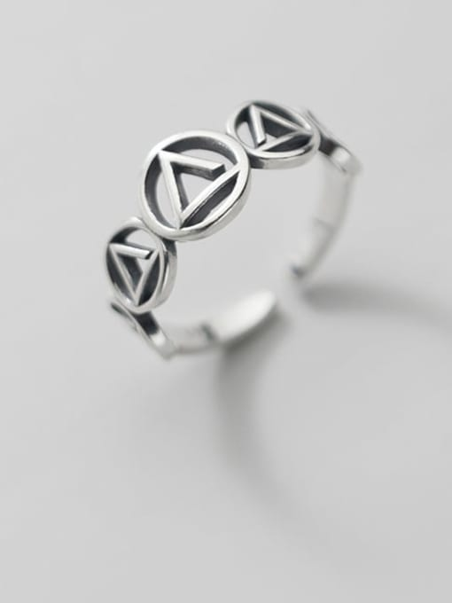 Rosh 925 Sterling Silver  Vintage Geometric triangle circle  Band Ring