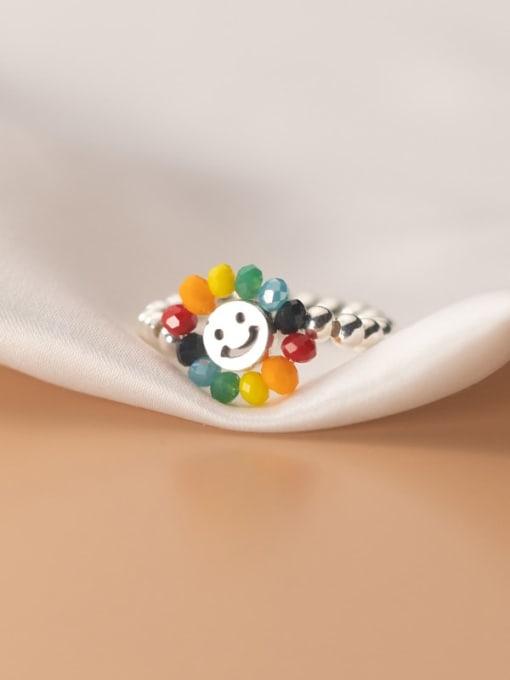 Rosh 925 Sterling Silver Bead Flower Minimalist Band Ring 2