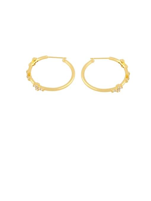 gold Brass Cubic Zirconia Cross Minimalist Cluster Earring