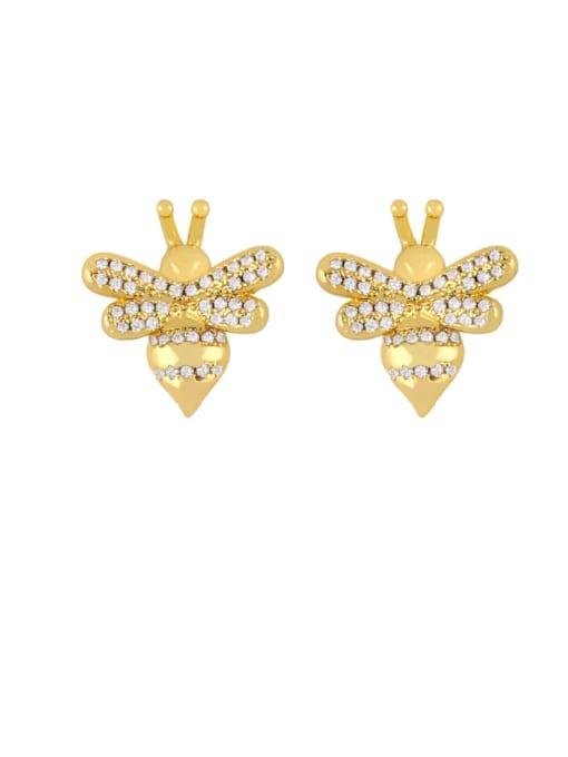 honeybee Brass Cubic Zirconia Butterfly Dainty Stud Earring