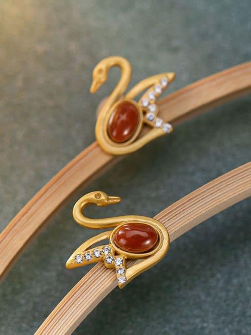 DEER 925 Sterling Silver Carnelian Swan Vintage Stud Earring 2