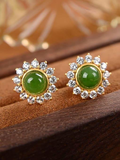 DEER 925 Sterling Silver Jade Flower Cute Stud Earring 3