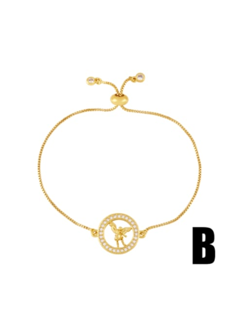 CC Brass Cubic Zirconia Religious Vintage Link Bracelet 2